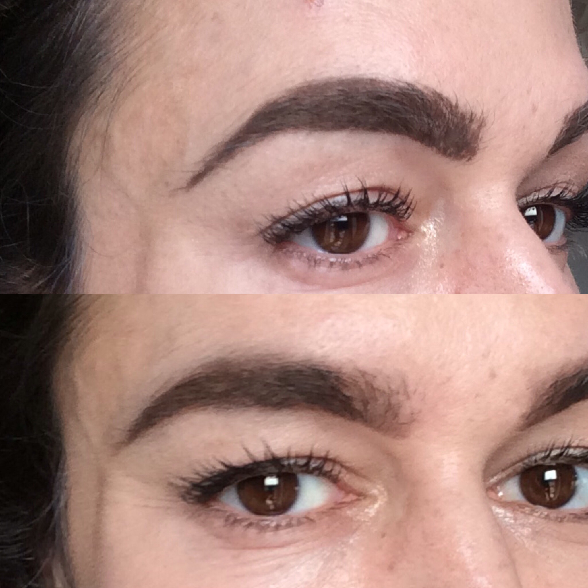 correcting makeup mistakes dense brows blended with spoolie, powder and concealer