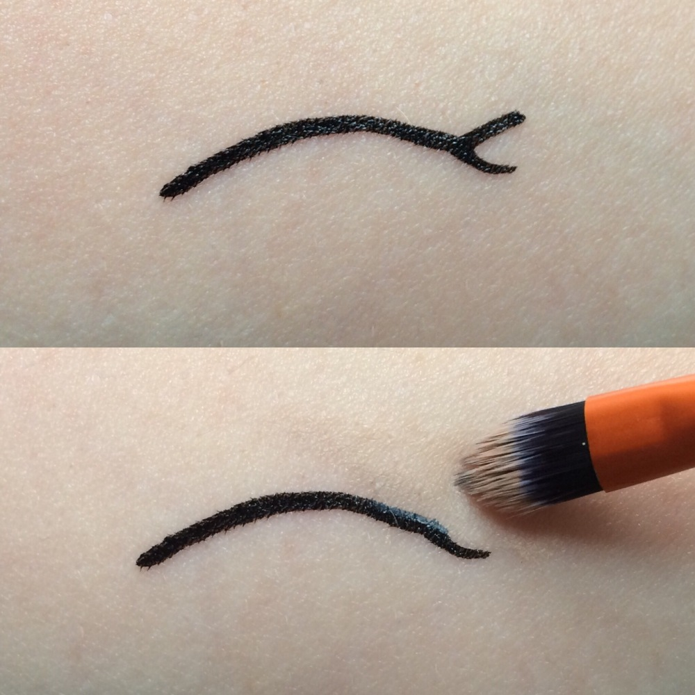 correcting makeup mistakes eyeliner wobble removed with concealer and small brush