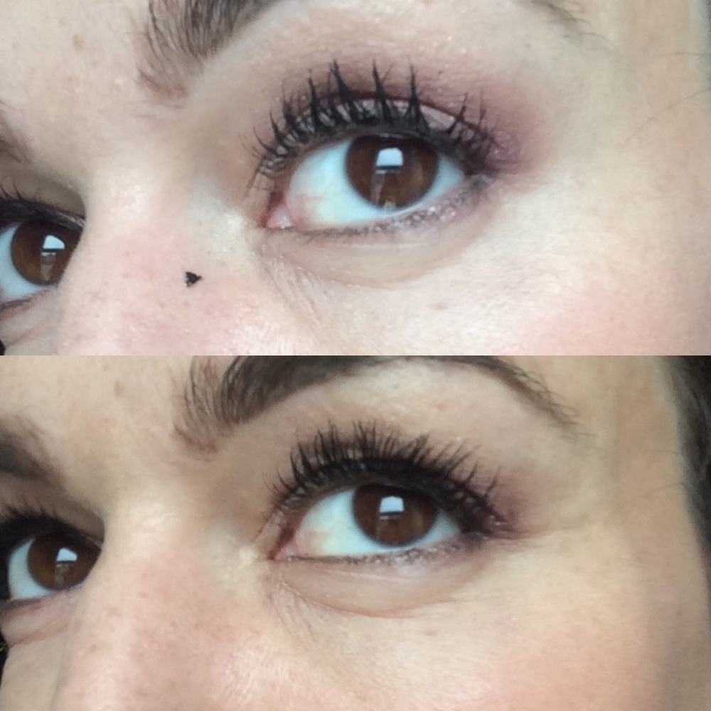 correcting makeup mistakes clumpy mascara and blob on nose before and after cleanup with cocktail stick and cotton bud