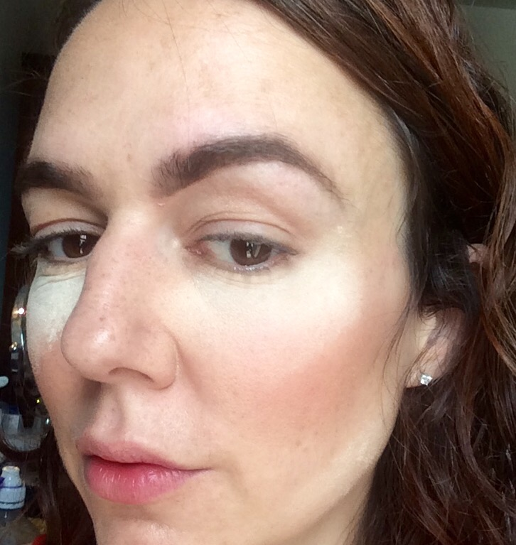 makeup baking with powder . before with unblended powder under eye