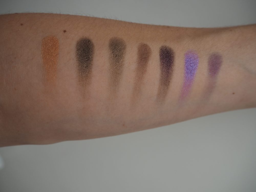 Swatches of eyeshadows from Morphe 35d palette gold and purples
