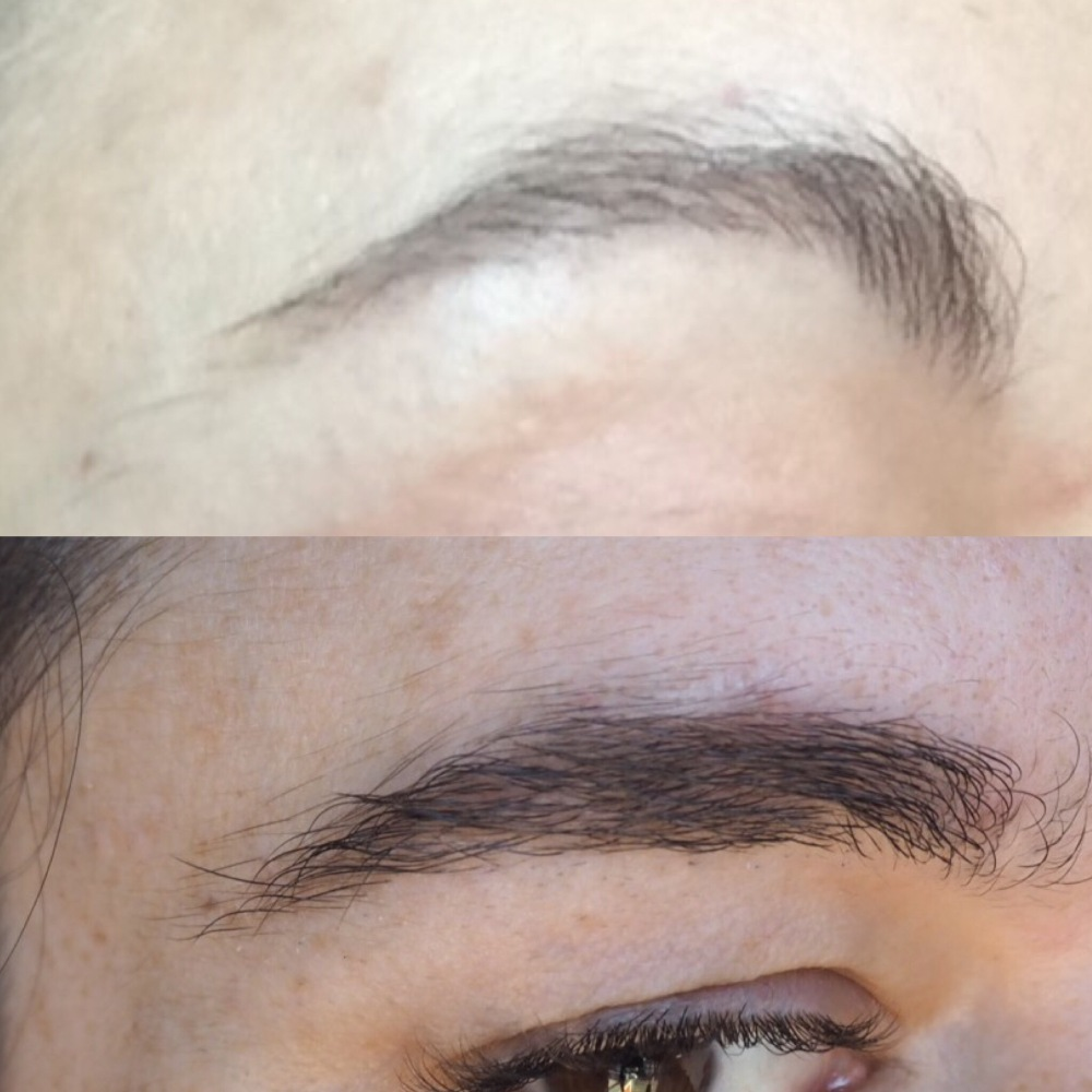 how to grow back sparse overplucked brows- before and after pictures side by side, before is a thin arch, after us much fuller