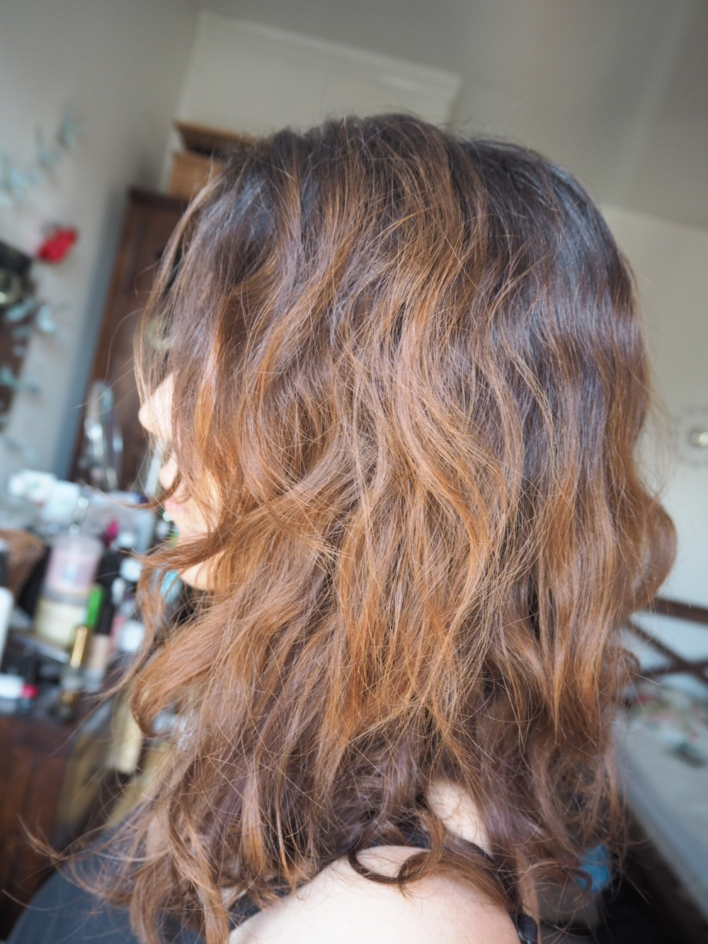 Olaplex No3 Curly hair amazon review- before photo curly frizzy brown hair