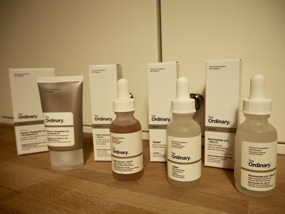The Ordinary Skincare|Acne and Aging Skin Regime packaging- 3 glass bottles and a tube