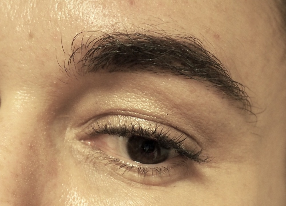 Katie Price Brow Enhancer. End of day pic. Close up of Brow- still looks neat