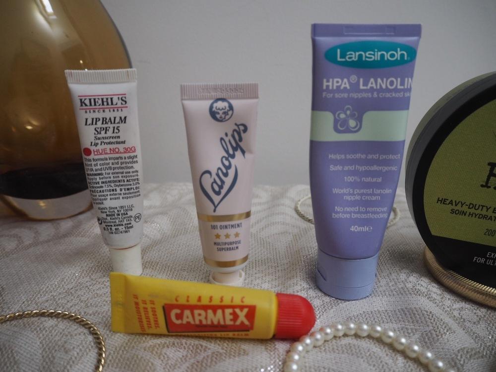 10 Tips For Dry Winter Skin tubes of lip balm