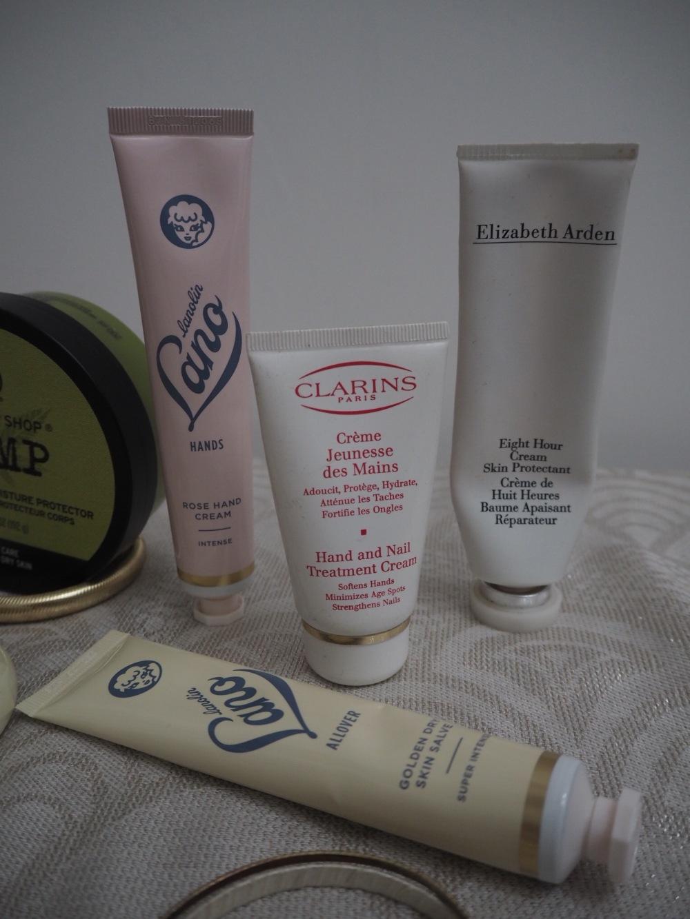 10 Tips For Dry Winter Skin- Hand cream tubes