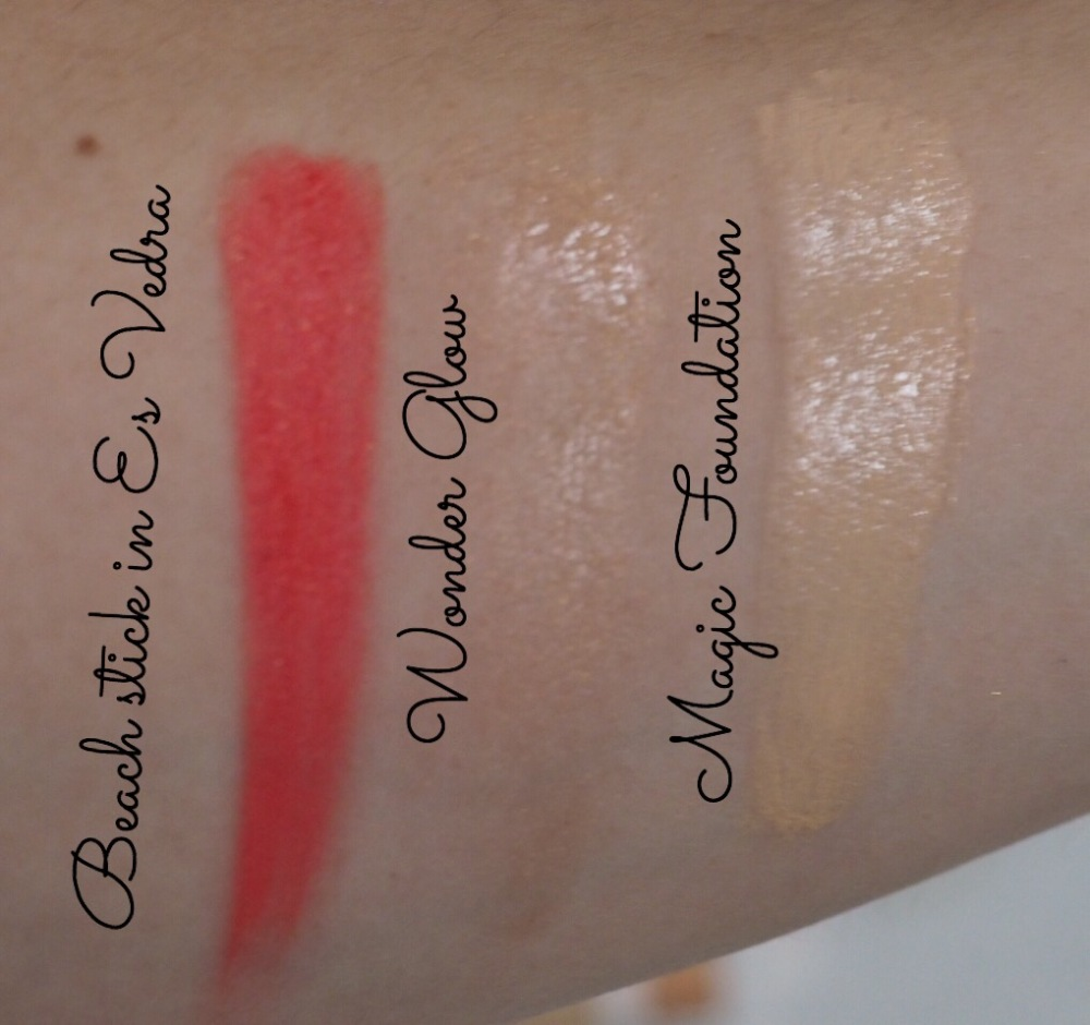 Charlotte Tilbury Swatches- Beach Stick in Es Vedra, Wonder Glow and Magic Foundation