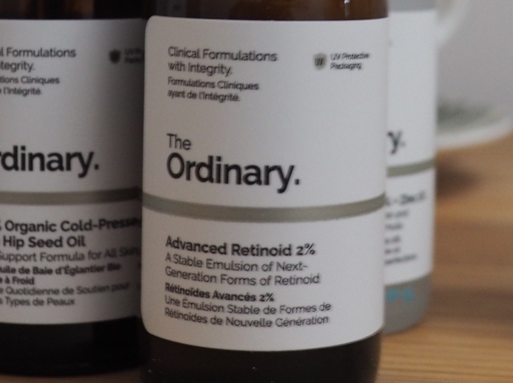 The Ordinary Advanced Retinoid Serum 2%- close up of dropper bottle