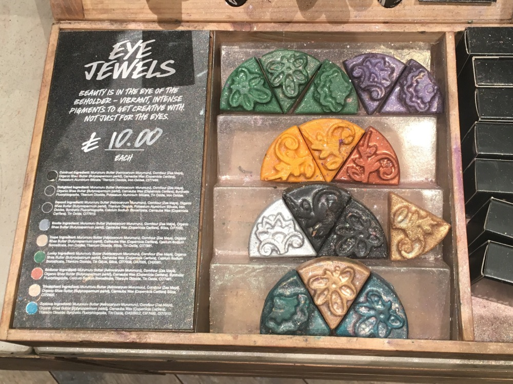 Lush Cosmetics Makeup Top Picks-Eye Jewels in store display