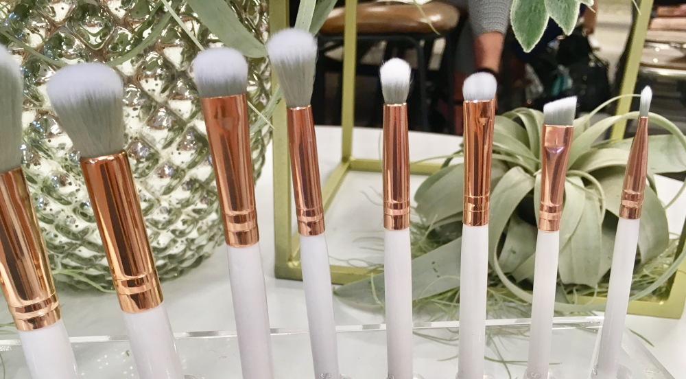 Spectrum Collection Makeup Brushes- The Marbellous Collection- grey handled brushes in a rack