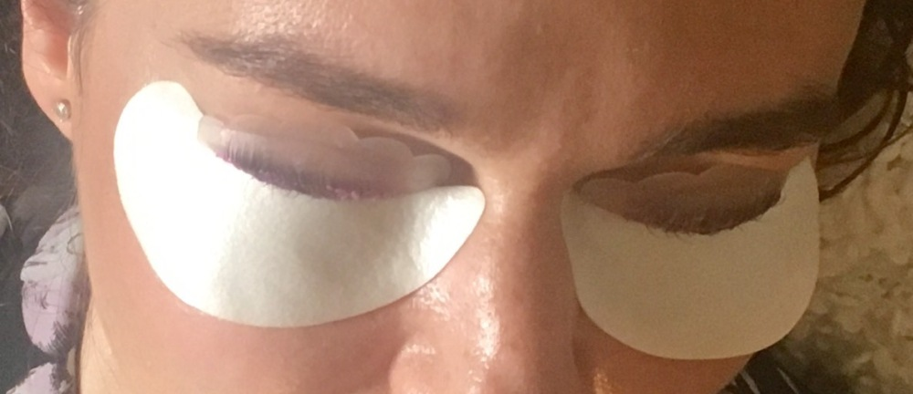 LVL Lash Enhance Treatment Review- close up of eye lids and adhesive shields