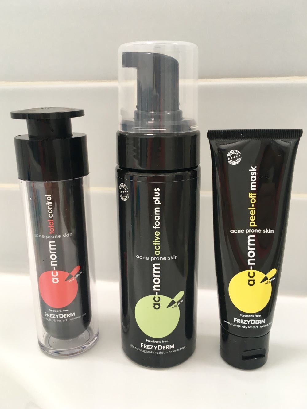 Frezyderm AC-Norm Skincare for Acne Prone Skin Review- 2 black pump bottles and a tube