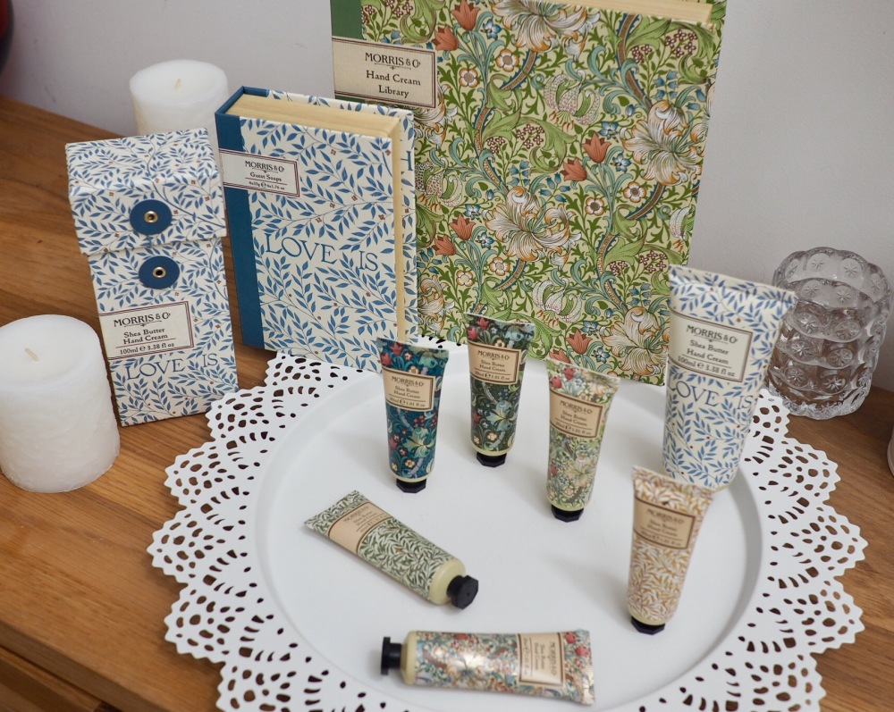 Morris and Co Gift Collection from Heathcote and Ivory hand cream tubes with ornamental vintage patterns