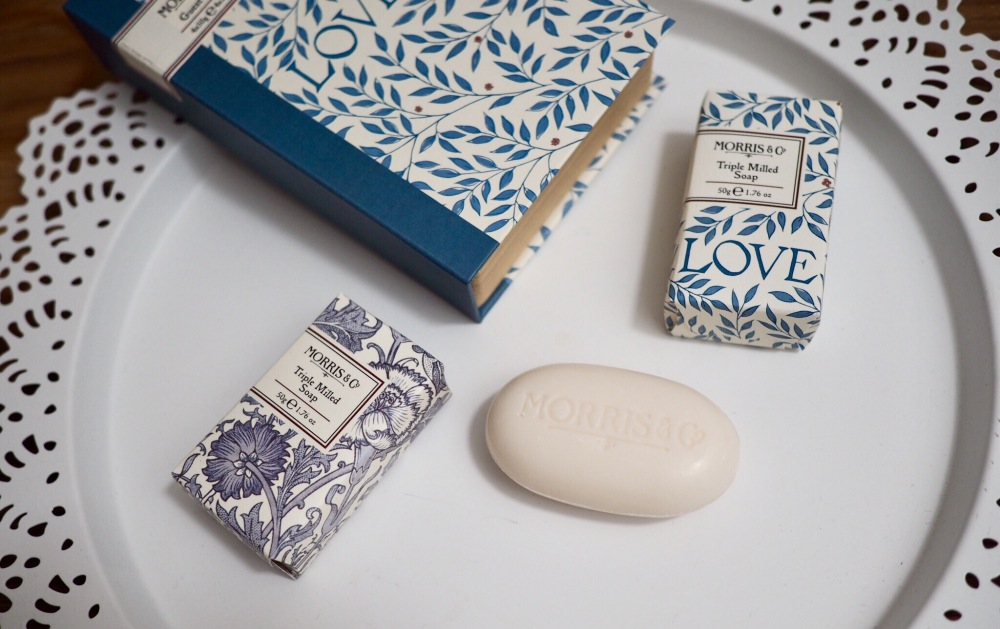 Morris and Co Gift Collection from Heathcote and Ivory Soap with blue and white patterned packaging