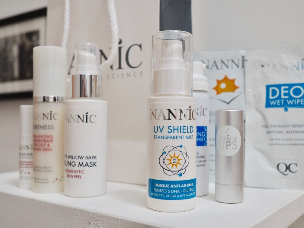 Nannic Skincare- pump bottles on a shelf