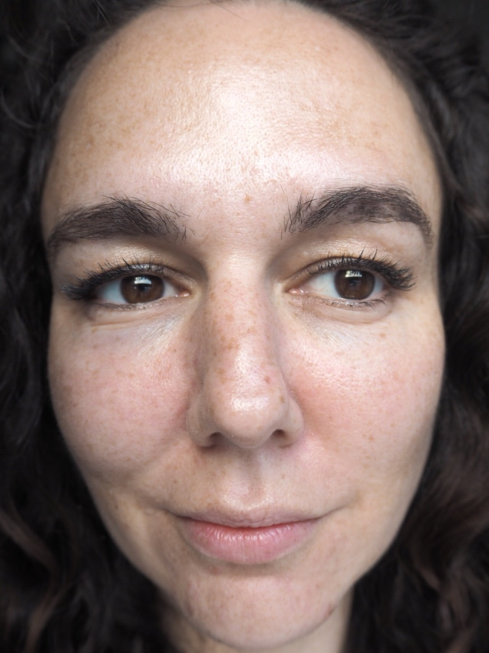 Before NIOD Photography Fluid 12% Opacity and Hylamide Photography Foundation- close up bare face