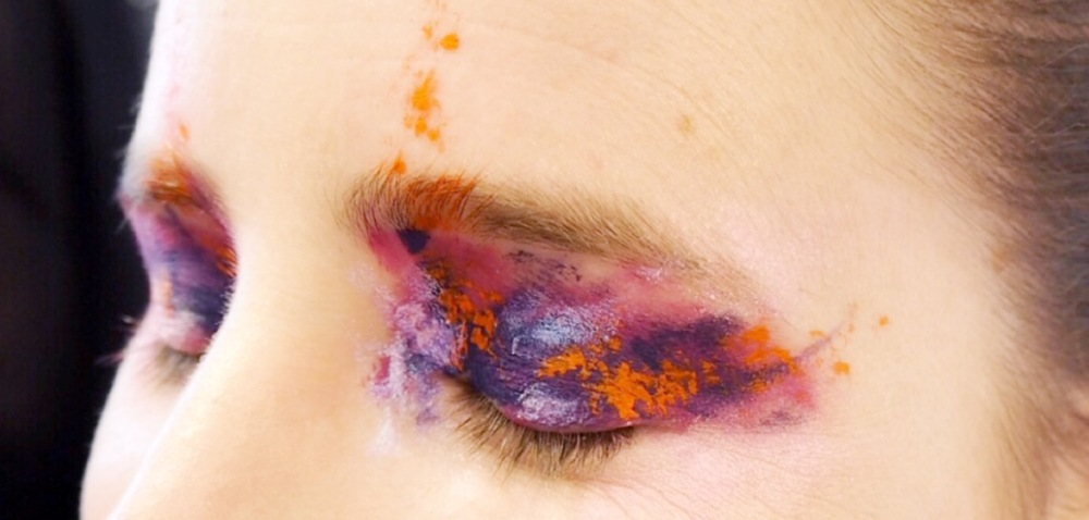 Kat Von D Makeup- The Eye Look- crazy navy and orange eye makeup
