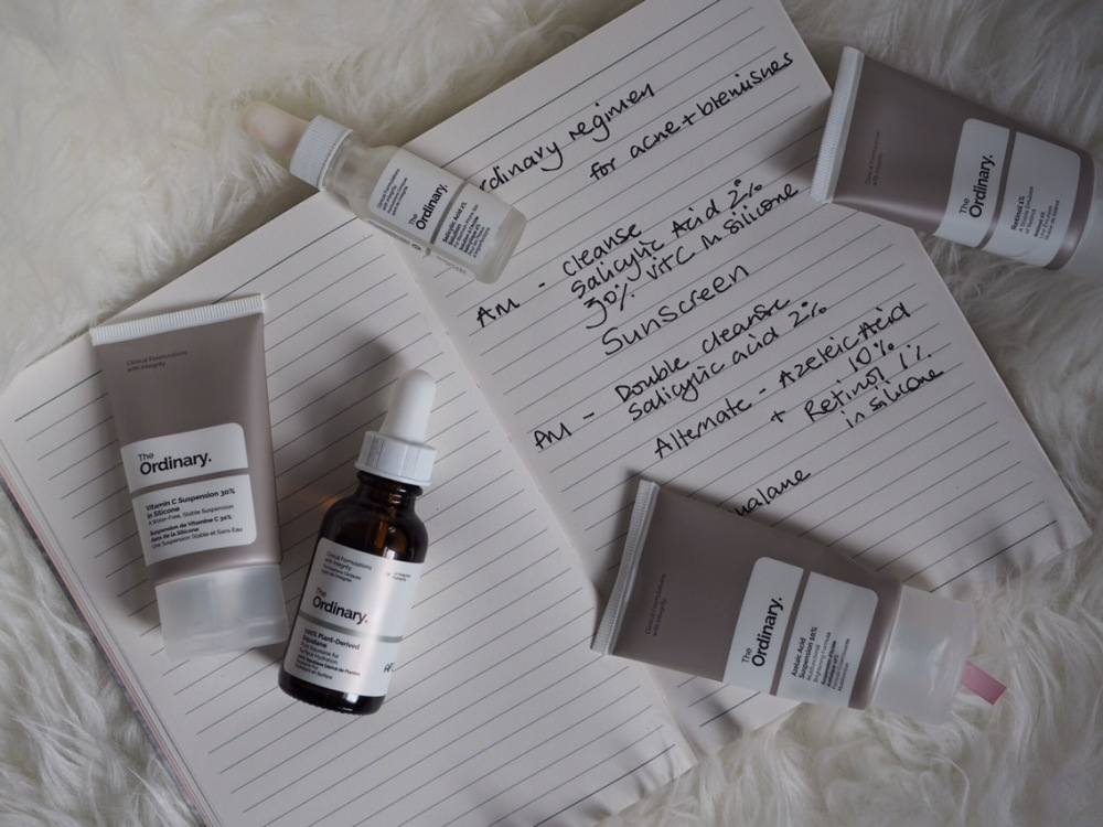 How to Use The Ordinary skincare by Deciem- dropper bottles on a fur rug