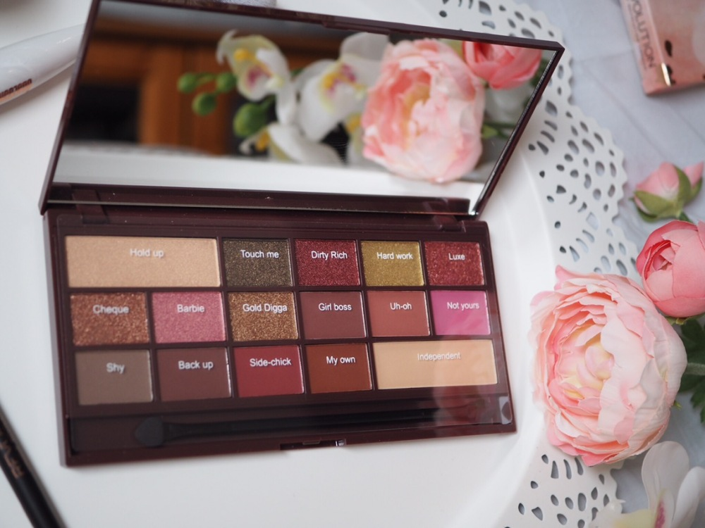 I Heart Makeup I Heart Chocolate Rose Gold Palette- shade names and descriptions are listed in text