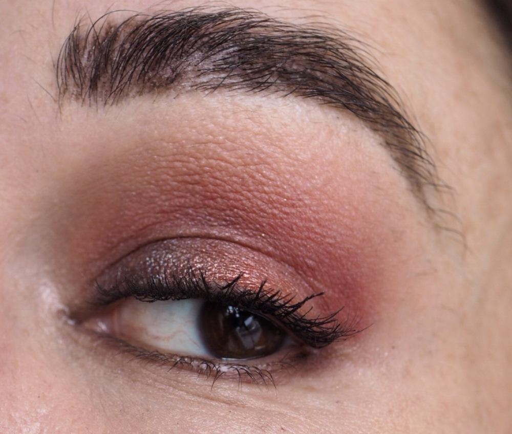 Makeup Revolution Soph X Eyeshadow Palette Eye Look- close up eye with pink metallic shadow